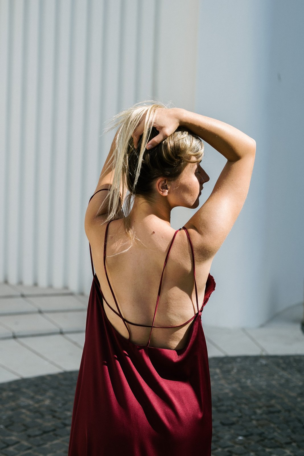 Burgundy Slip On Bareback Dress