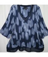New DONNA KARAN Soft Sleepwear Pajama Top S Blue Sheer Hemline V Neck 3/... - $39.55
