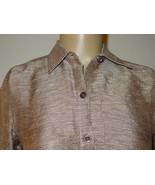 Coldwater Creek Brown Silver Marble Gauze Top Blouse Silk Linen-PXS-NWT-... - $20.90