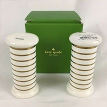 kate spade Charles Lane Gold Stripe Salt And Pepper Shaker Set Lenox NIB - $18.69