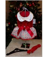 Pet Dog Red White Candy Cane Holiday Christmas Harness Dress Matching L... - $24.95+