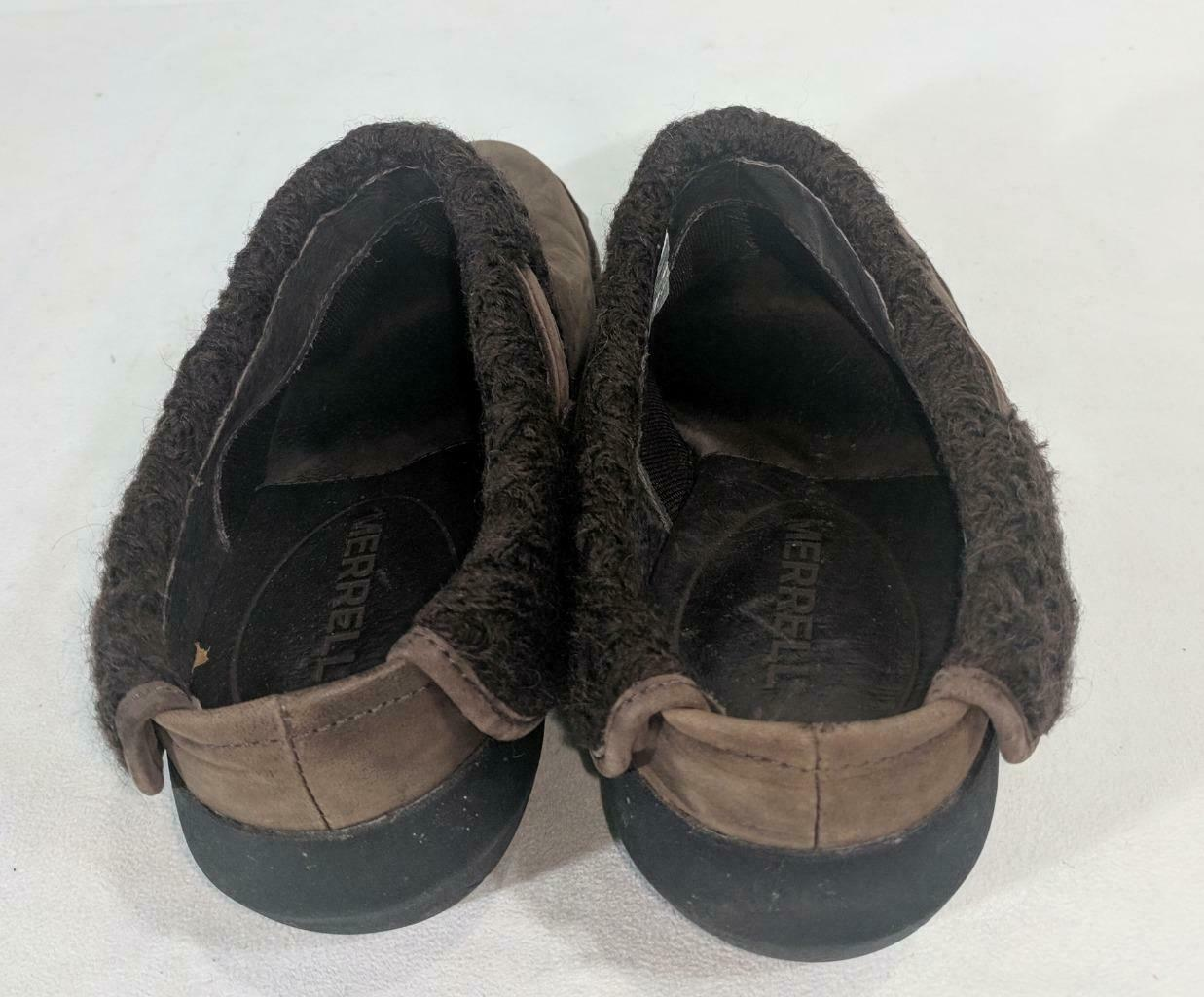 LM Women's 9 Merrell Luxe Knit Brown Studded Nubuck Slip-On Clog Mule Shoes EUC