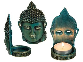 Set of Two Thai Buddha Freestanding Tealight Candle Holders - $24.21