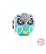 silver 925 beads cute animal owl charms with enamel and CZ Fit Original ... - $17.99