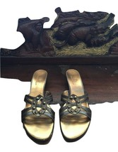 Women's Cole Haan Kitten Heels Sandals Bronze Brown Leather  W/ Metal St... - $42.56