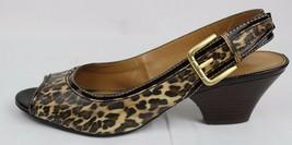 Franco Sarto Name women's slingback sandals peep pumps animal print size 5.5M - $35.09
