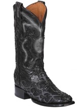 Western Boot Old Mejico Patchwork Exotic Caiman Black ID 301093 - €275,77 EUR