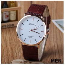 Round Bar Numeral White Couple Watches Leather Luxury Wristwatch image 2