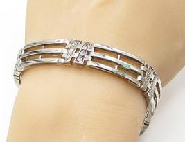 925 Silver - Vintage Cubic Zirconia Linked Gate Heavy Tennis Bracelet - ... - $139.27