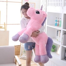 new  arrival 80cm 110cm unicorn plush toy pink white big plush animal so... - ₹5,869.85 INR