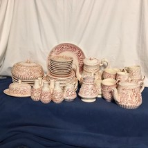 Vintage 53 Pc HUGE BAS Relief Cream & Red 3D Scene Ceramic Dishes Dinner... - $296.99