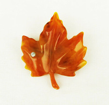 Avon butterscotch lucite leaf pin rhinestone accent vintage brooch - $8.42