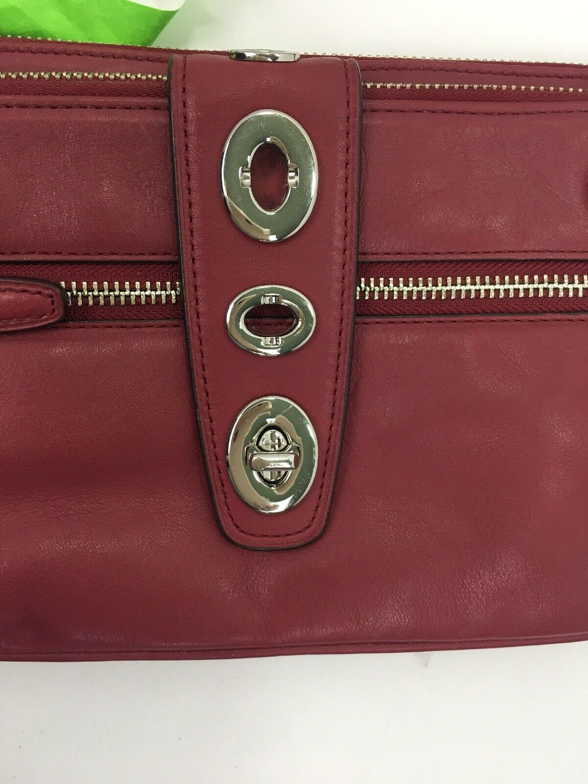 Coach Archival Wristlet 40207 Legacy Red Glove Leather Turnlock Clutch Bag B26 image 5