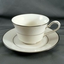 Noritake Marseille Tea Cup and Saucer Set Ivory White Scrolls Platinum T... - $10.89