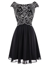 Women's Short Beaded Homecoming Dress Chiffon Cap Sleeves Formal Prom Dr... - $118.99