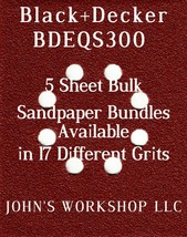 Black+Decker BDEQS300 - 1/4 Sheet - 17 Grits - No-Slip - 5 Sandpaper Bul... - $7.14