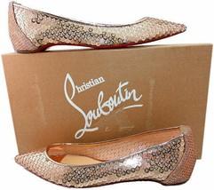 Christian Louboutin Nude Lace Mesh Sequin Cabaret Ballerina Ballet Flats... - $490.00