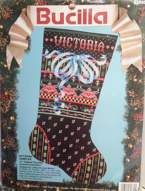 "Bucilla Victorian Sampler Christmas Stocking Counted Cross Stitch KIT 19"" VTG"