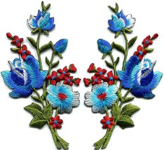 Blue red roses pair flowers bouquet embroidered appliques iron-on patche... - £3.00 GBP
