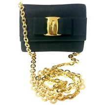 Vintage Salvatore Ferragamo black leather shoulder mini bag with golden ... - £394.72 GBP
