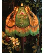 Victorian Neoclassic Embroidered Flower Lamp Shade,16''d x 14''tall. - $138.60