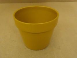 Designer Flower Pot 7in Diameter x 6in H Mustard Round Porcelain - $18.68