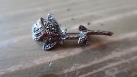 Vintage Sterling Silver Marcasite Rose Brooch 4.1 cm - $24.74