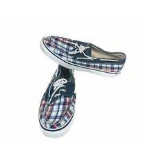 Sperry Top Sider Women's Red White Blue Plaid Boat Shoes 9.5M Flats Comfort - $28.04