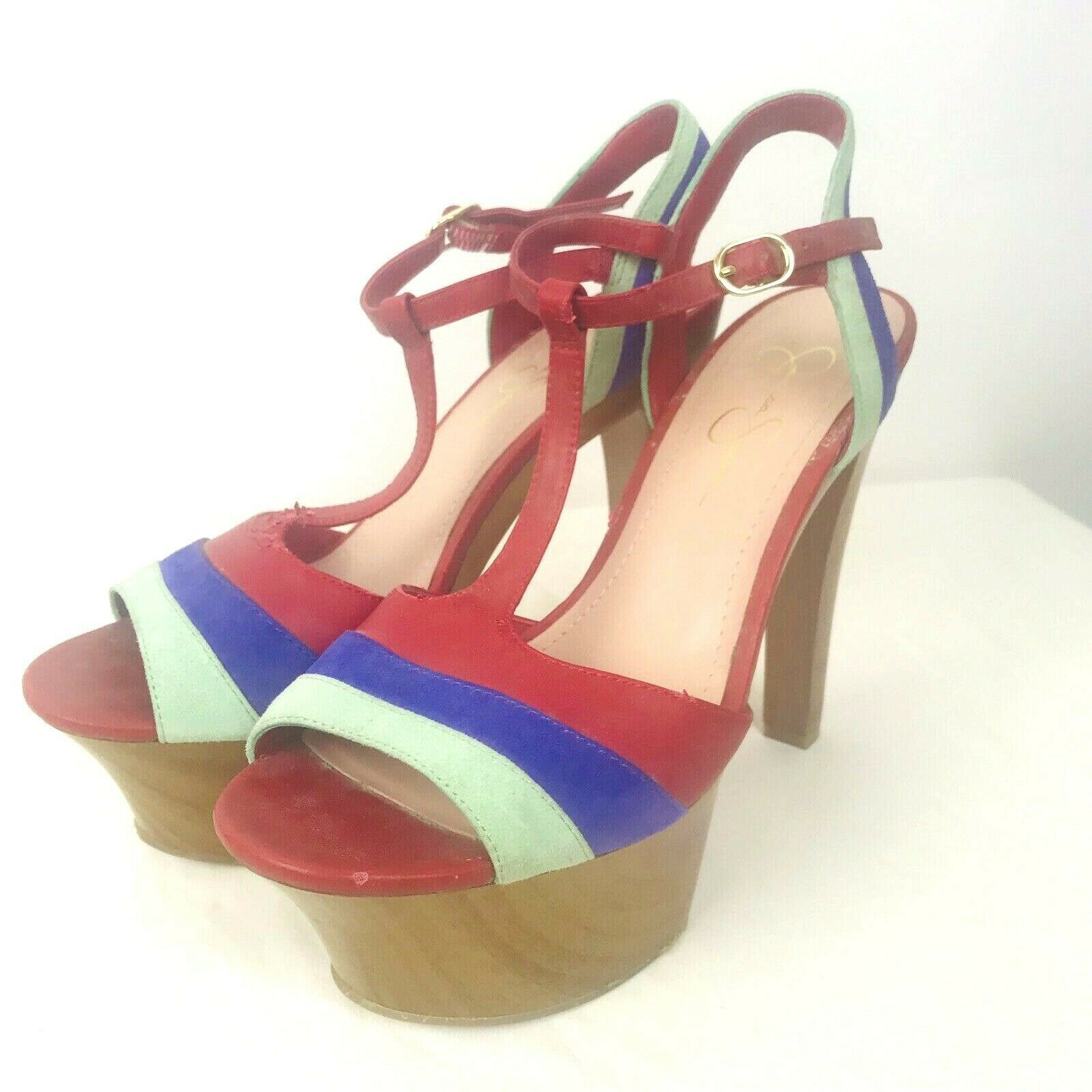 Jessica Simpson Red Blue Suede/Leather High Heel Platform Wood Peep Toe Sandal 8 - $27.07