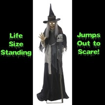 Life Size Animated Sound LUNGING HAGGARD EVIL WITCH Haunted House Hallow... - $197.97