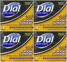 Dial for Men Odor Armor Antibacterial Soap, 3 Count, 4 Ounce Pack of 4 12 Bars T