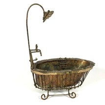 """Vintage Enesco Imports Corp 1976 Metal Tub Shower Brass 12"""" Tall - $15.90"""