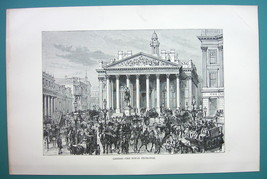 ENGLAND London Royal Exchange - 1890s Antique Print - $10.71