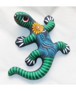 "Ceramic Clay Lizard Gecko Figurine Hand-painted Colorful Wall Art 6"" L24 - $16.58"