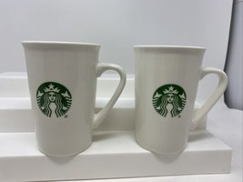 (2) Starbucks Logo 10 oz Coffee Tea Cup Mugs White Green Mermaid Siren T... - $19.79
