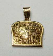Egyptian Handmade Queen Isis wings Gold 18K Pendant Pharaonic inscriptions - $266.75