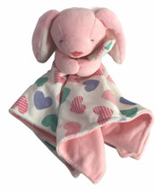 Carters Pink Bunny Rabbit Blanket Security Lovey Plush Hearts SOFT VGC! - $23.32