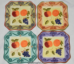 Tabletops Unlimited Medici * 4 SALAD PLATES *  Fruit, Displayed Only, Cr... - $12.99