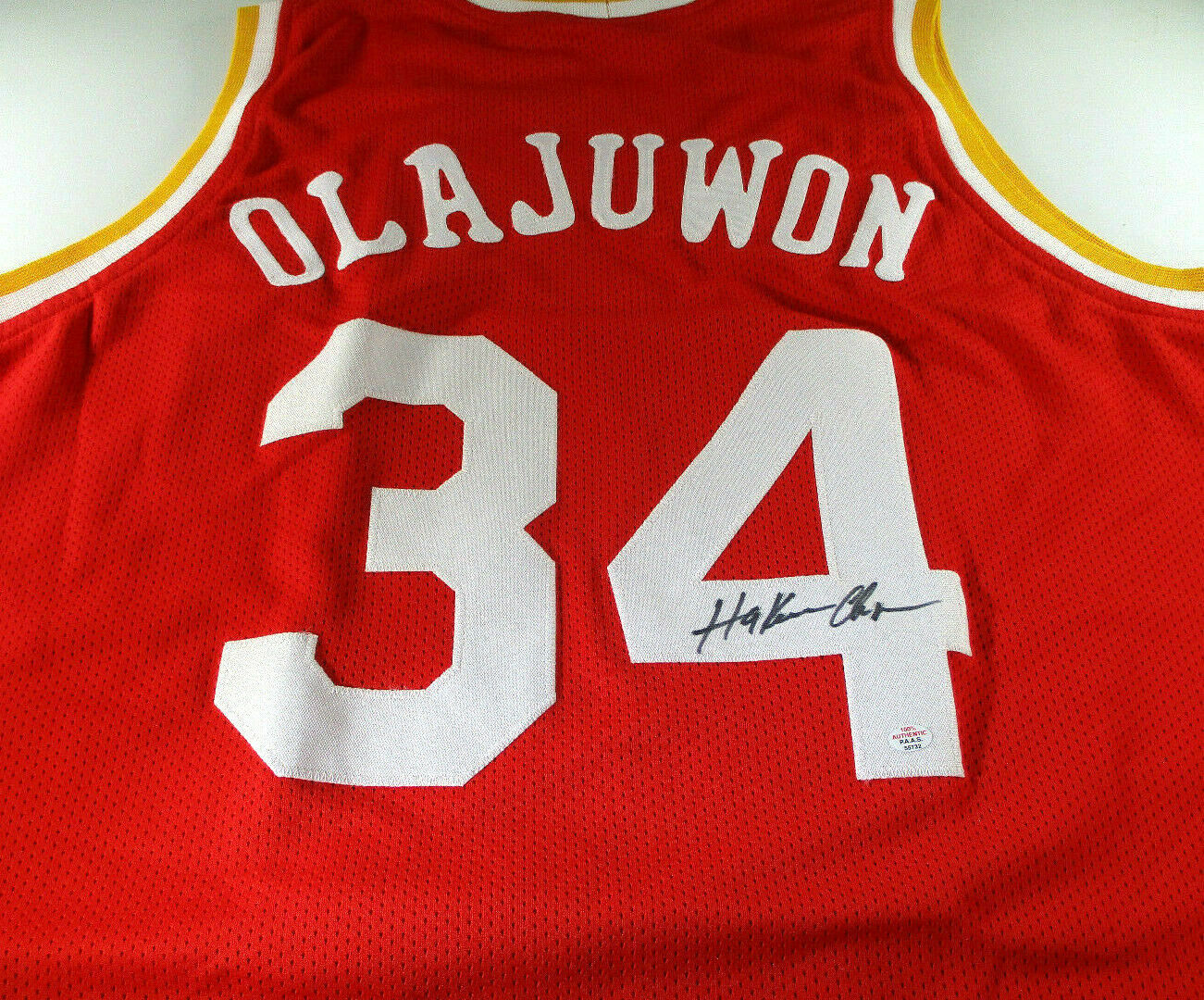 HAKEEM OLAJUWON / NBA HALL OF FAME / AUTOGRAPHED HOUSTON ROCKETS CUSTOM JERSEY