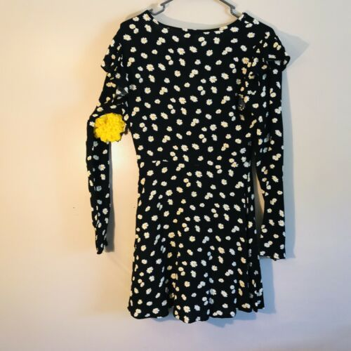 Forever 21 Black Floral Long sleeves dress small