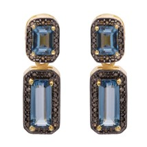 925 Sterling London Blue Topaz & Champagne Diamond Earring For Women Gif... - $71.21