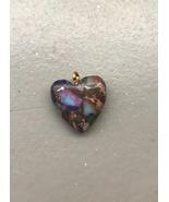 Sea Sediment and Pyrite Heart Pendant 20x20mm stone cab cabochon, mosaic... - $3.50