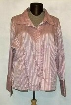 Cato Women's Button Down Pink Striped Long Sleeve Shirt Plus Size 26/28 - $9.99