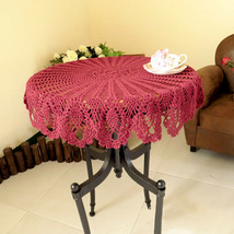"Vintage Hand Crochet Round Tablecloth Table Cotton Doily Pink Floral 35"" - $15.75"