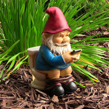 Cody the Gnome Reading Phone on the Throne - $37.85