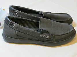 Femmes Crocs Standard Ajusté Walu Toile Mocassins Glissière Chaussure W ... - $32.07