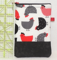 Zippered Cell Phone Case - Small - Red, Gray, Black Chickens - ZPC - $4.00