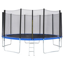 14 FT TRAMPOLINE WITH ENCLOSURE NET, LADDER POLE SAFETY PAD JUMPING MAT ... - $851.39