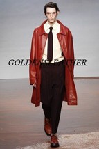 Winter Men Leather Coat Tailor Made Real Genuine Leather Trench Coat -01 - $189.99