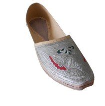 Men Shoes Indian Handmade Espadrilles Embroidered Wedding Cream Jutties US 9.5 - $39.99